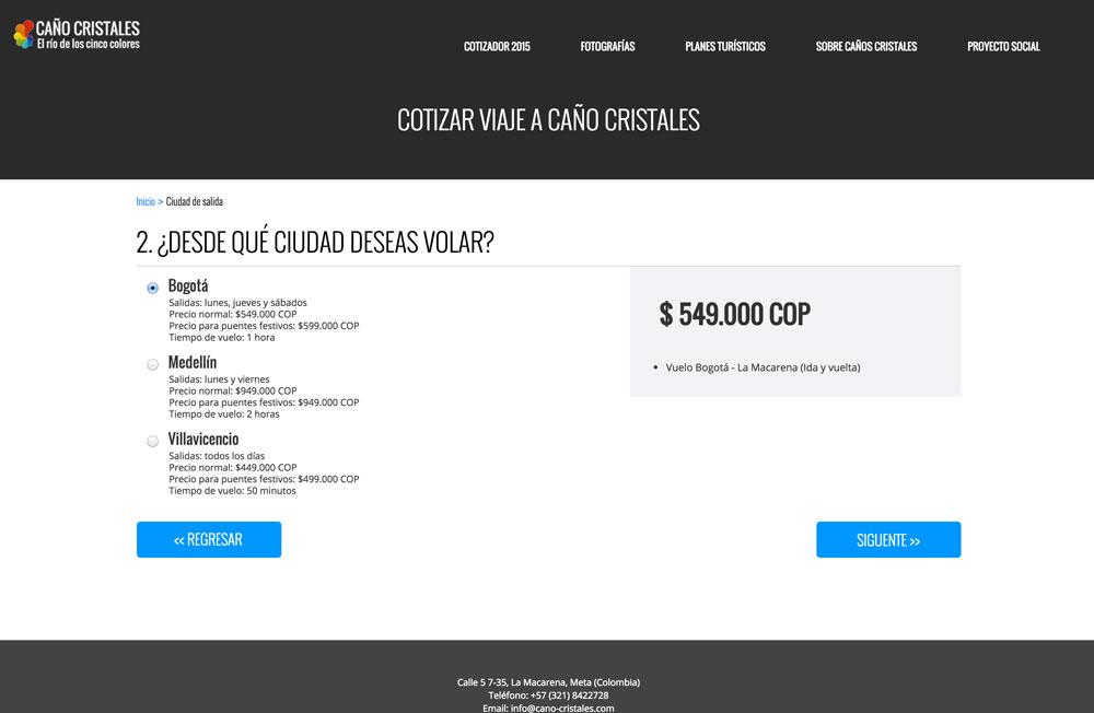 Cotizar viaje a Caño Cristales, incluyendo el vuelo (desde Bogotá, Medellín o Villavicencio)