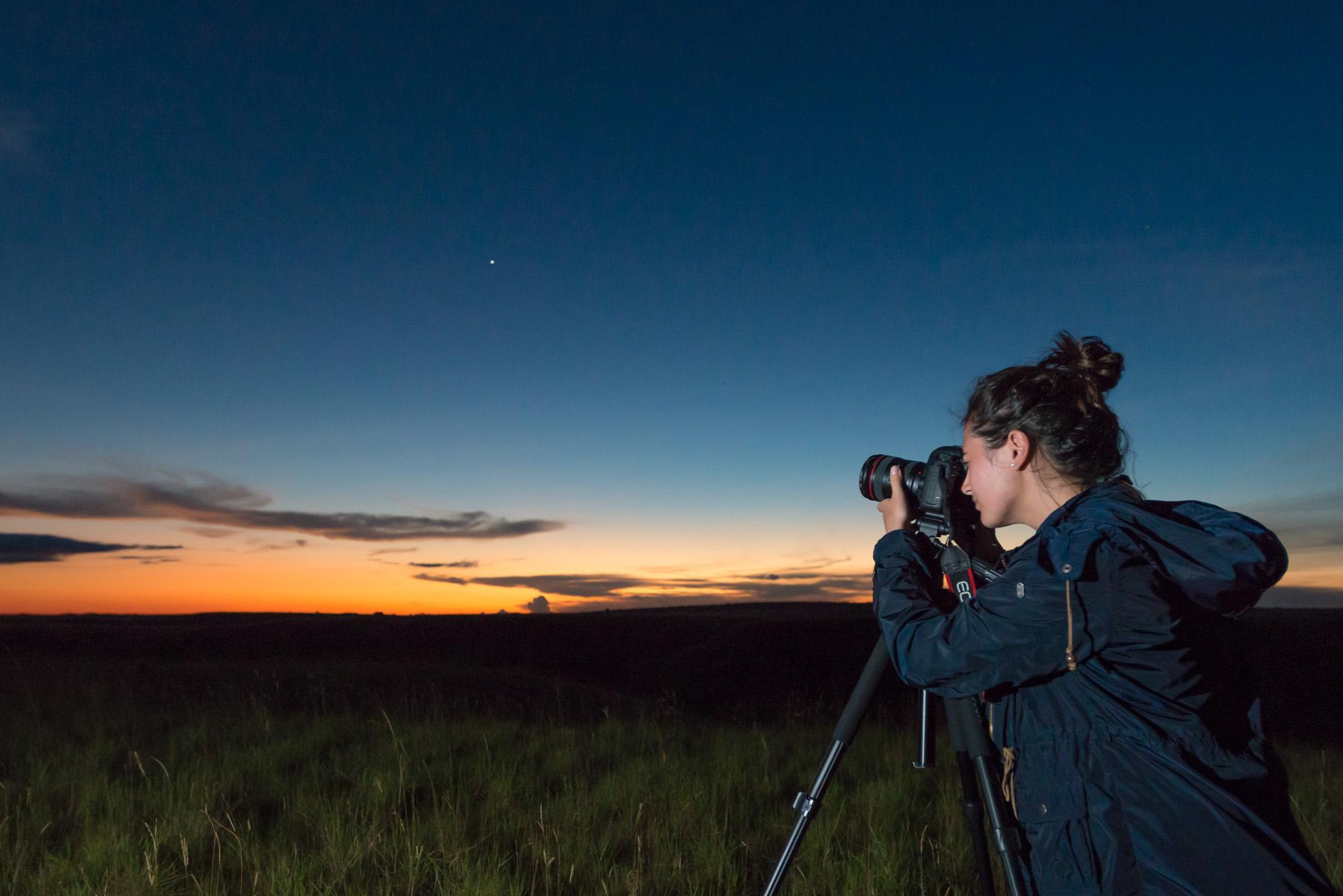 Diana De Mulder, en 2016, aprovechó el atardecer y luego la gran Vía Láctea