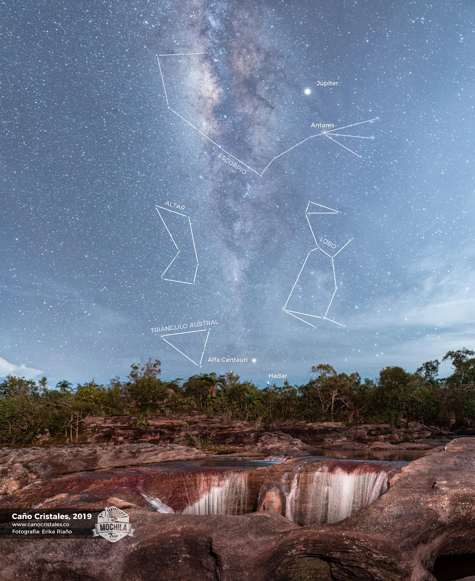 Vía Láctea y Constelaciones sobre Caño Cristales, Colombia por Erika Riaño